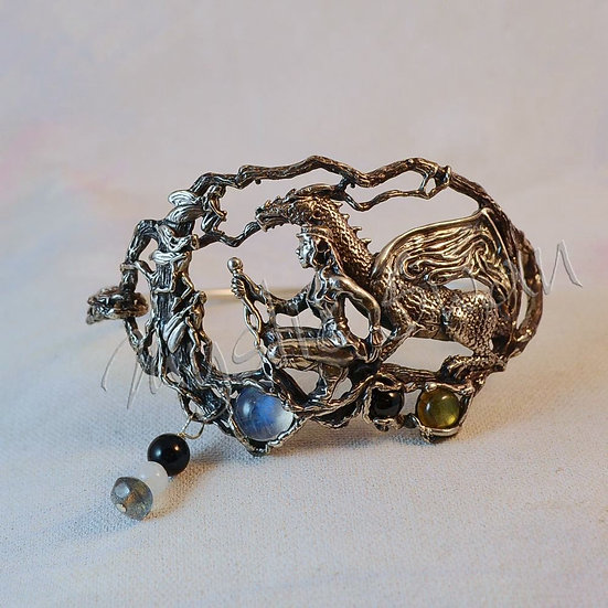 "Dragon & Maiden Bracelet, Sterling Silver Fantasy Jewelry, ""The Quest Continues"""