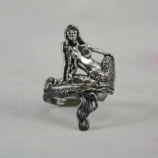 Mermaid Ring In Sterling Silver, Magical Fantasy Jewelry