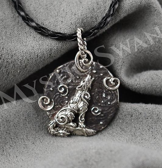 Spirit Wolf Necklace/Pendant in Sterling Silver