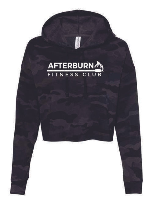 Afterburn Fitness Ladies Black Camo Crop Hoodie