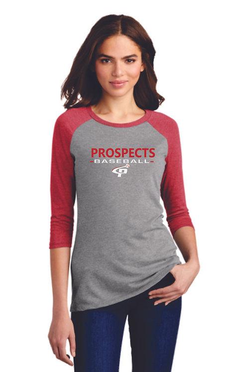 Prospects Baseball  Triblend 3/4-Sleeve Raglan Full Logo