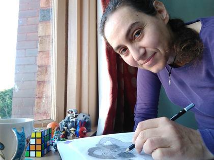 Melanie Notaras sketching