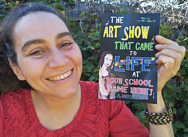 Author & illustrator Melanie Notaras with her book The Art Show That Came To Life At [Your School Name Here]