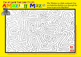 """Help the Thinker through the maze to find his Big Idea (an """"The Art Show That Came To Life"""" activity)"""
