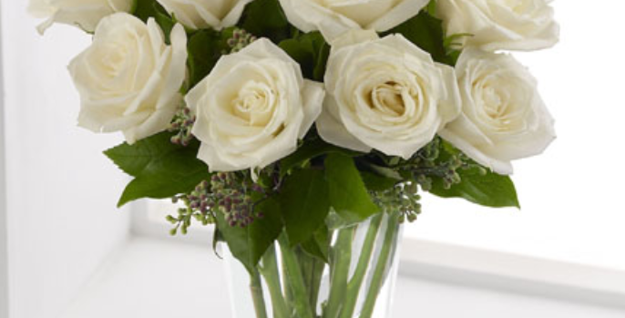 White Roses Arranged