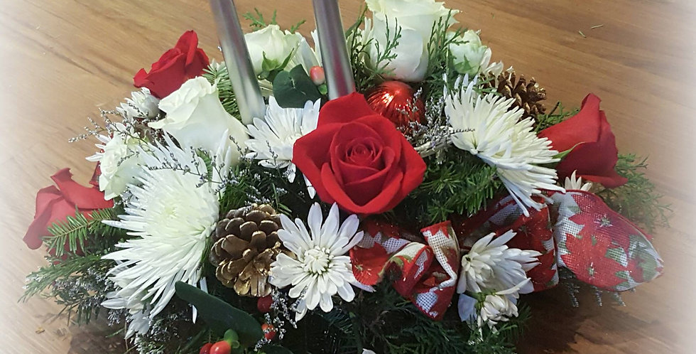 Traditional Holiday Centerpiece with Candles