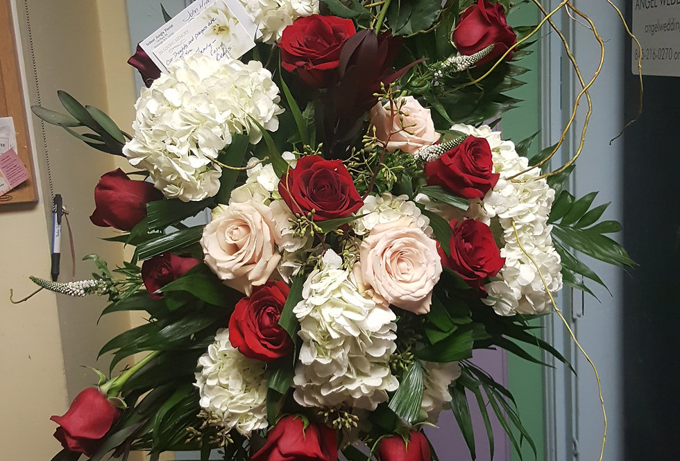 Sympathy Spray in Red, White and Neutrals