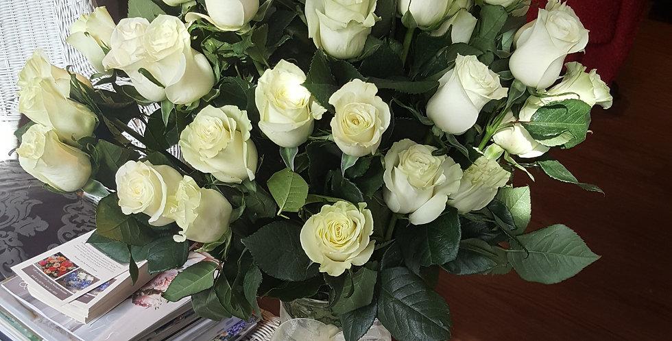 3 Dozen White Premium Roses