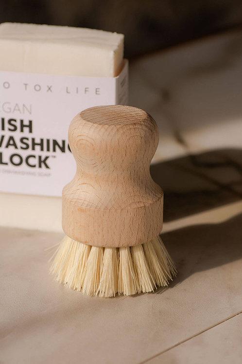 Dish and Vegetable Hand Brush - White Teakwood & Agave Fiber