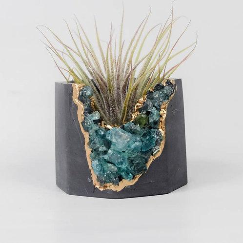 Blue Apatite Geode Vessel | Dark