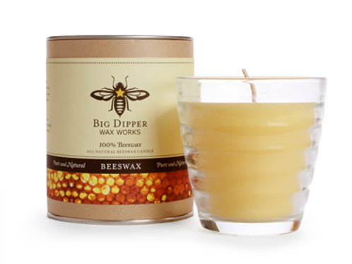Pure Beeswax Beehive Glass Candle by Big Dipper Wax Works