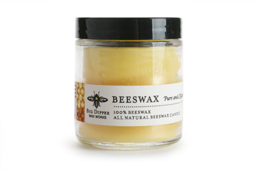 Pure Beeswax Apothecary Glass Candle by Big Dipper Wax Works