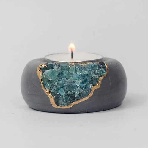 Blue Apatite Tea Light Holder | Dark