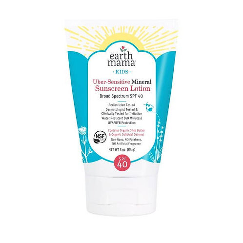 Kids Uber-Sensitive Mineral Sunscreen Lotion - SPF 40 by EARTH MAMA