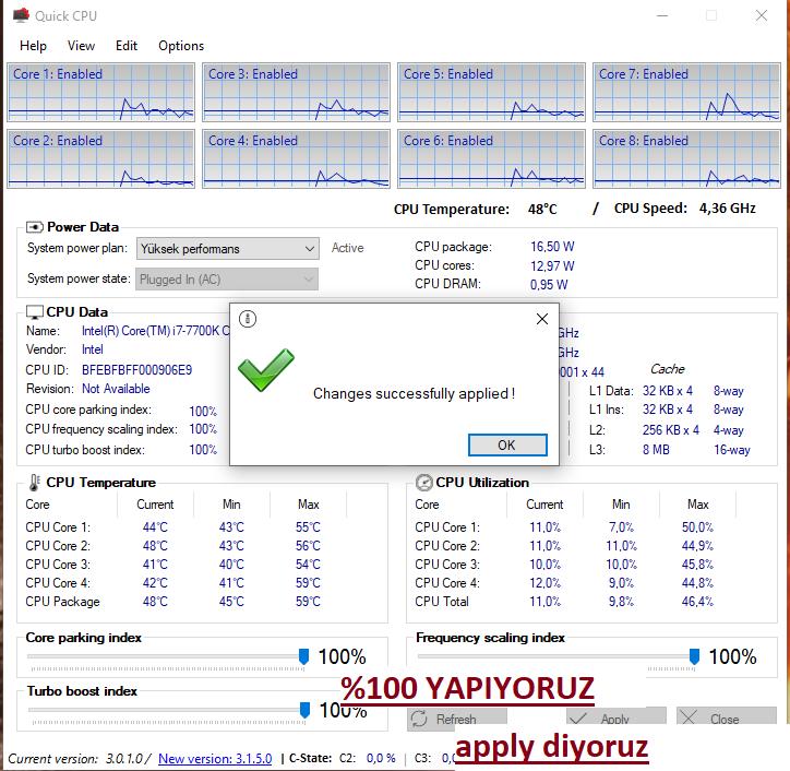 Quick CPU nasıl kullanılır, Quick CPU ayarları, Quick cpu