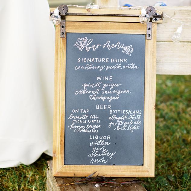Bar menu chalkboard sign for wedding reception