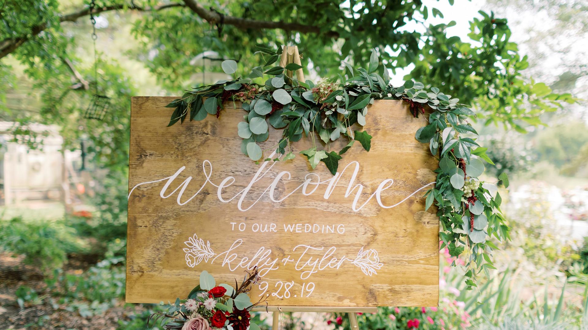 Wedding welcome sign for backyard wedding