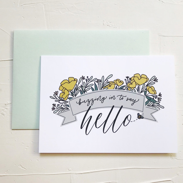 Just saying hello modern calligraphy greeting card