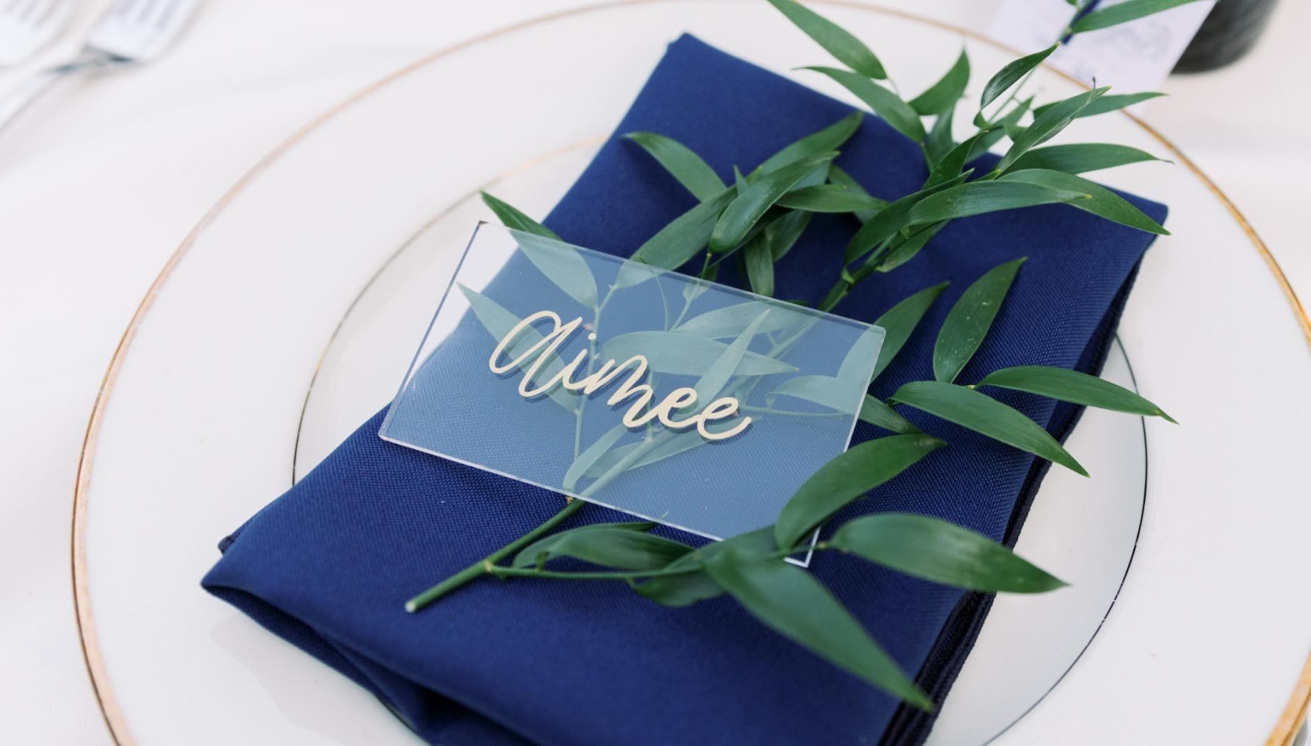 Acrylic placecard for wedding reception