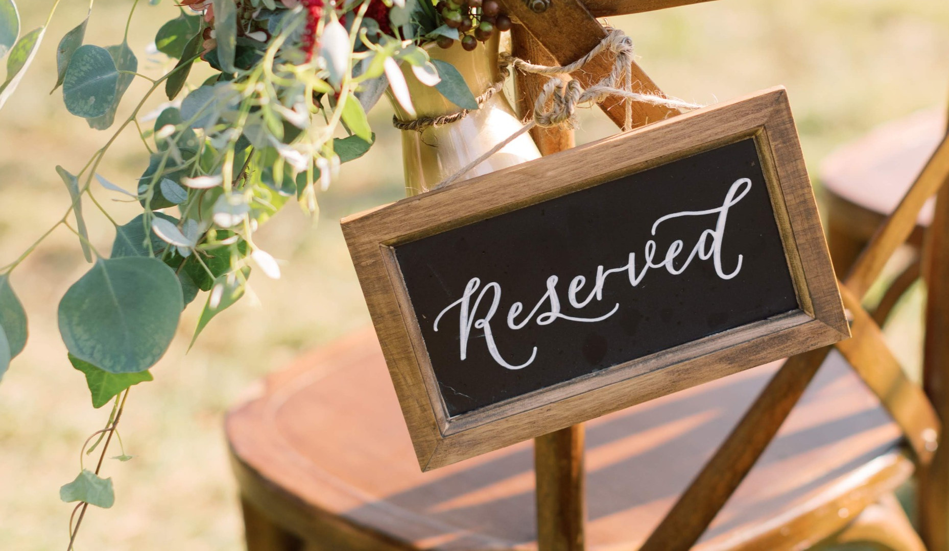 Reserved ceremony chalkboard calligraphy sign