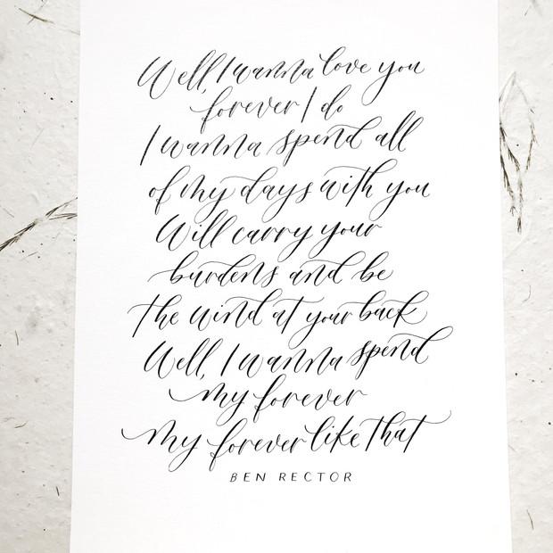 Modern calligraphy quote custom artwork