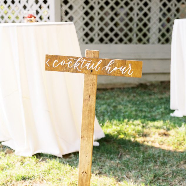 Cocktail hour calligraphy wood sign for wedding reception