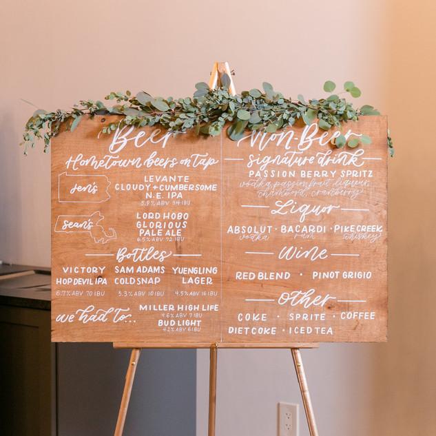 Bar menu wood sign