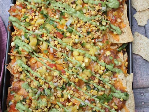 Loaded Veggie Nachos with Pineapple salsa & Avocado dip