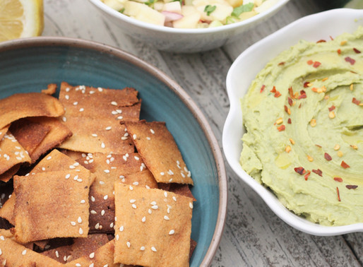 Cauliflower Crackers with Avocado Hummus and Apple Cucumber Salsa
