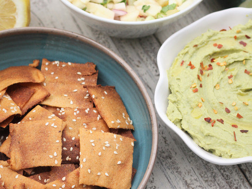 Cauliflower Crackers with Avocado Hummus and Apple Cucumber Salsa