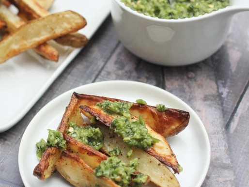 Roasted Potato wedges with Spicy Mint Mojo Verde