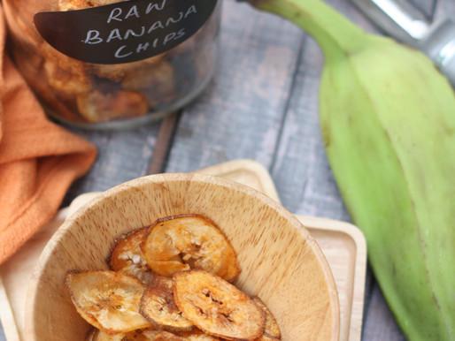 Baked Raw Banana Chips - a healthy indulgence!