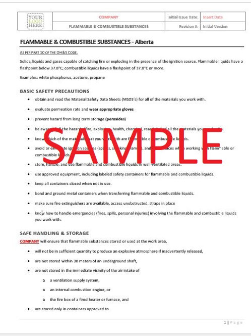 Flammable & Combustible Substances - Alberta RAVS