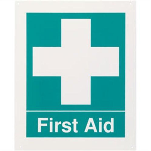 "First Aid Rigid Plastic Sign, 8"" x 10"""
