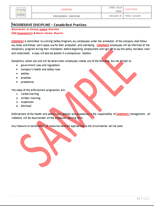 Progressive Discipline - Canada Industry Practice RAVS