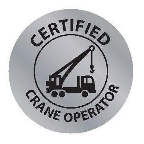 Certified Crane Operator Sticker--2x2 Circle