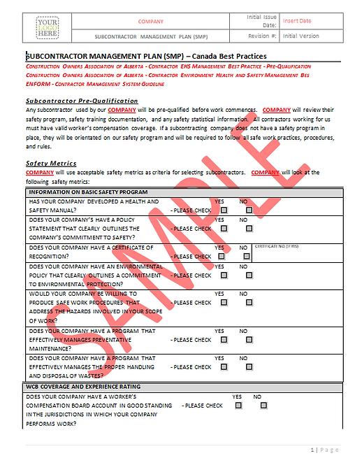 Subcontractor Management Plan - Canada Industry Practice RAVS