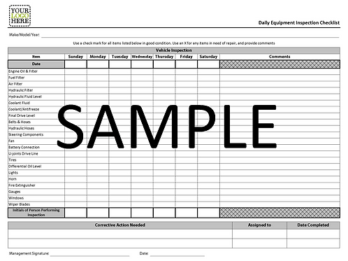 NCR - Daily Equipment Inspection Checklist Form