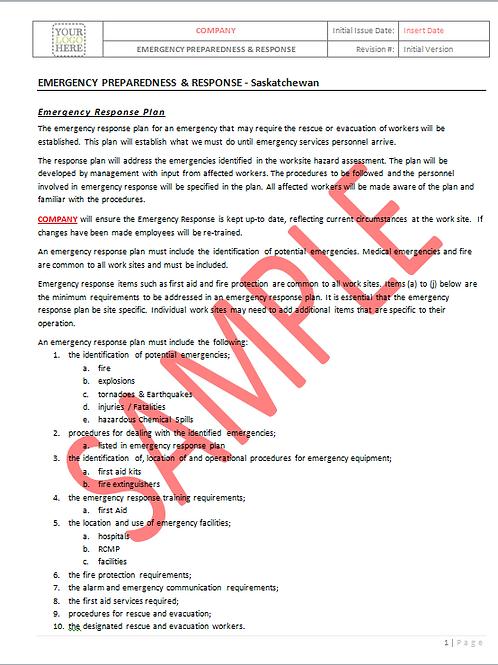 Emergency Preparedness and Response - Saskatchewan RAVS