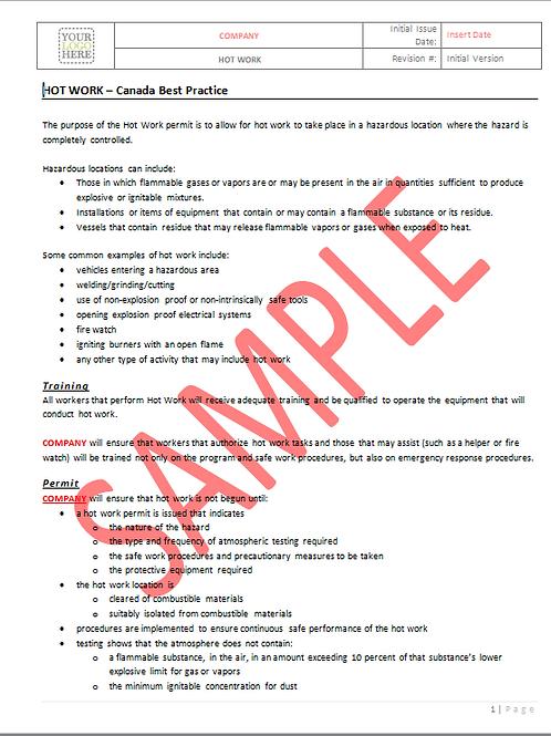 Hot Work -Canada Industry Practice RAVS