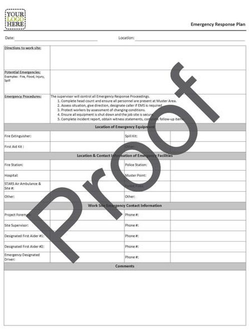 Emergency Response Plan Form