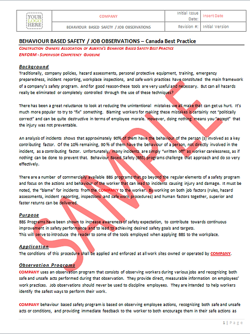 Behavior Based Safety Job Observations - Canada Industry Practice RAVS