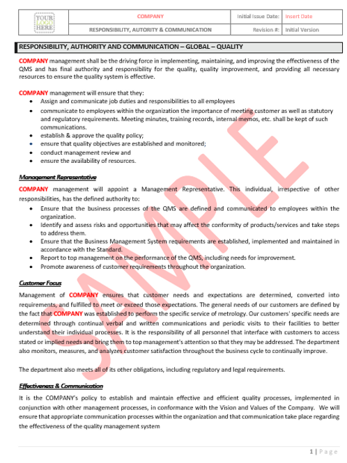 Roles & Responsibilities – Global – Quality