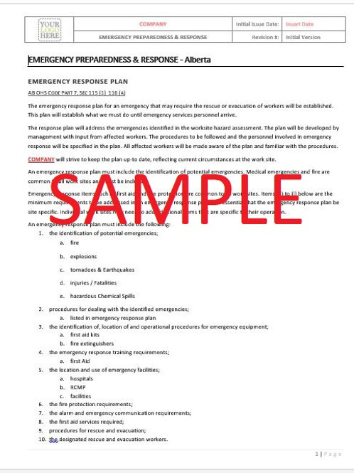 Emergency Preparedness & Response - Alberta RAVS