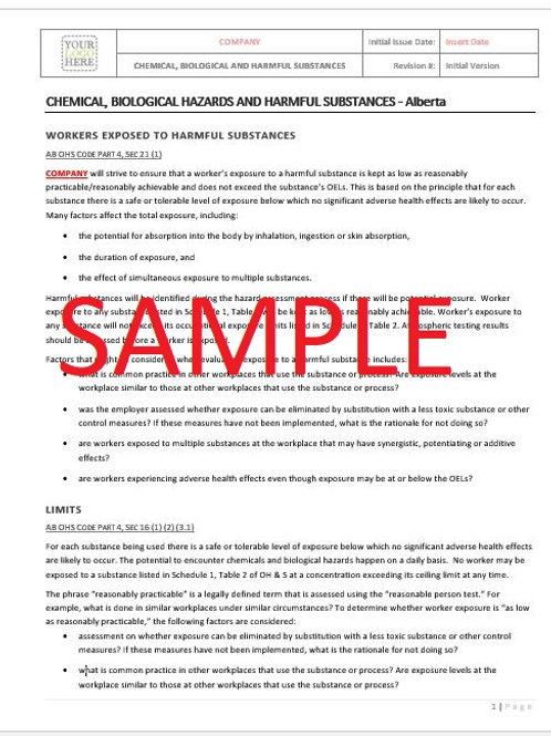 Chemical, Biological Hazards & Harmful Substances - Alberta RAVS