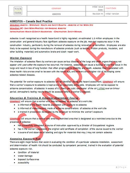 Asbestos - Canada Industry Practice RAVS