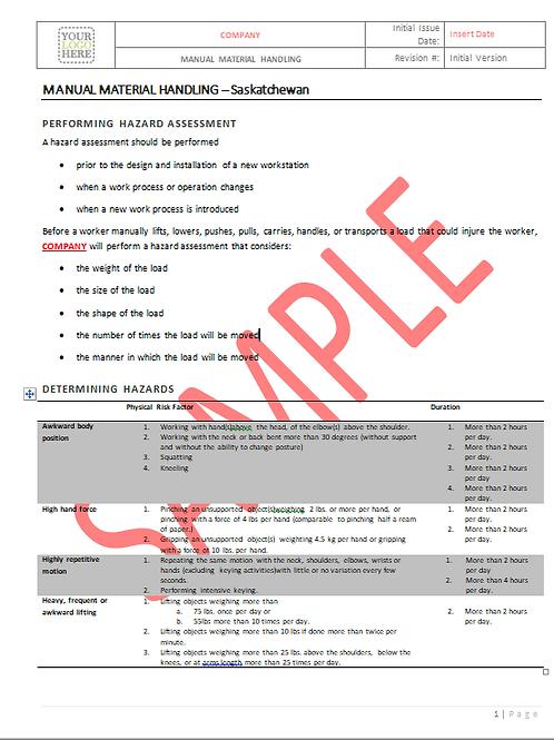 Manual Material Handling - Saskatchewan RAVS