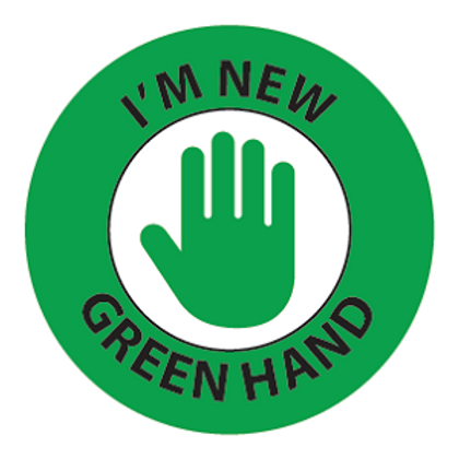 New Worker Green Hand Hard Hat Sticker