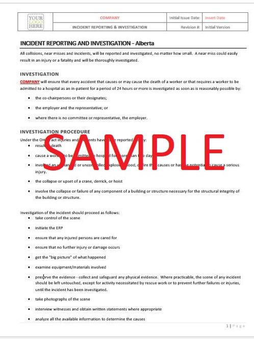 Incident Reporting & Investigation - Alberta RAVS