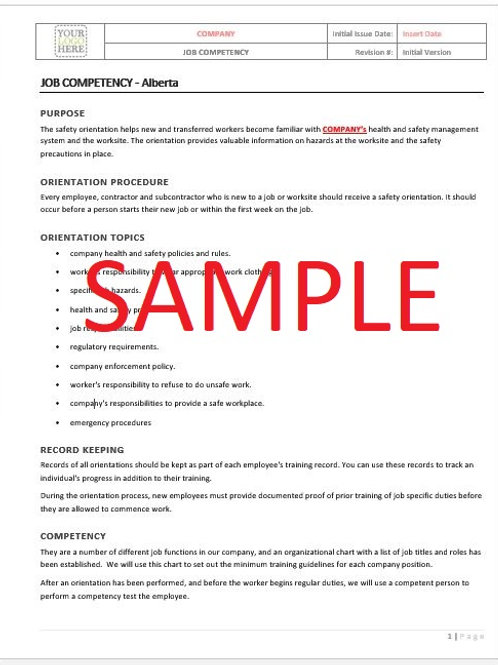Job Competency - Alberta RAVS